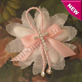 CF265 Italian Confetti Flower with Rhinestone Cross Pin