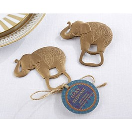 11286NA Lucky Golden Elephant Bottle Opener