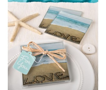 7835 Beach Love themed set of 2 glass coasters from fashioncraft