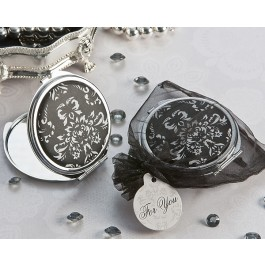 "A72012 ""Diva in Damask"" Black and White Compact Mirror Favor"
