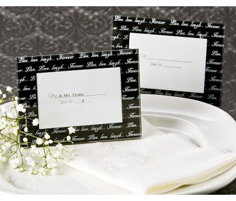 """A53101 """"Live, Love, Laugh…"""" Mini Photo Frame / Place Card Holder in Black (Pack of 4)"""