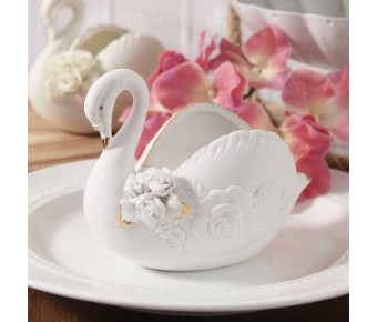 "RB5352-1 ""Serenity"" Fine White Bisque Porcelain Swan"