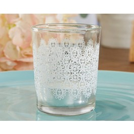"20152NA ""Lace"" Glass Tealight Holder (Set of 4)"