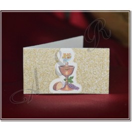 GL365 First Holy Communion Bigliettino with Chalice and Glitter