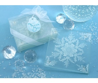 "A51015 ""Shimmering Snow Crystal"" Frosted Snowflake Glass Coasters (Set of 4)"