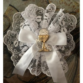 AF698 Italian doily with lace communion baptism favors  with chalice