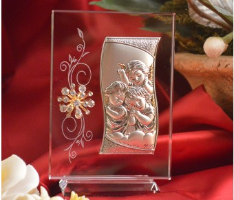 RL400VItalian Silver Angels icon on a glass stand