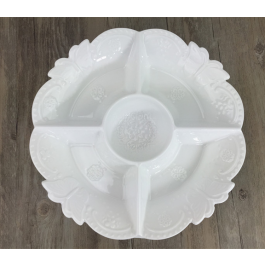 LC119 - White Ceramic 4 Section Dish Platter with Butterfly decor by myitalianfavors.com