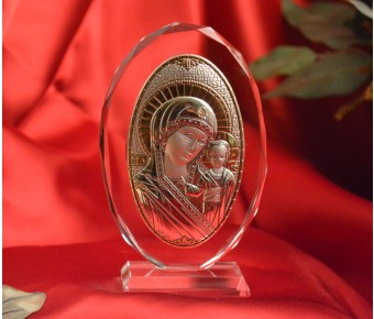 RL180VO Italian Silver Greek Orthodox Mother Mary icon on a glass stand