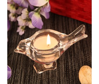 "RB1066 ""Love Bird"" Bird Shaped Crystallike Glass Candle Holder with Tealight Candle"