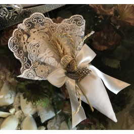 AF627 Italian lace Cone with wheat and silver chalice, first communion favors bomboniere