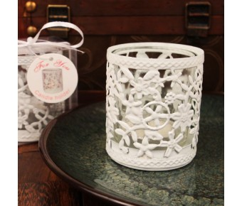 "RB1135 ""Glowing Garden"" White Steel Candle Holder with Glass Cup and Tea Light Candle"