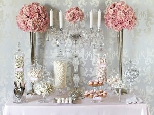 Sweet table candy buffet with imported sugar covered almonds
